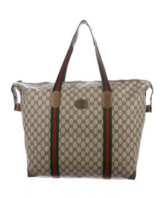 Authentic GUCCI vintage GG duffle Bag Zip Tote Oversized