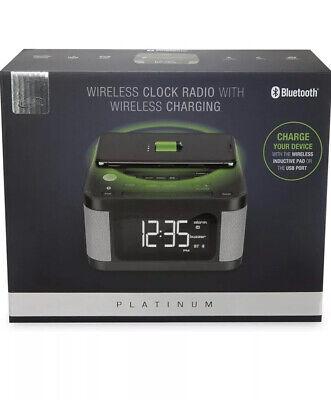 iLive Platinum Bluetooth Alarm Clock Radio w/Wireless Charging Pad I Live Clock Radio