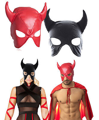 Devil Leather Mask Horns Masquerade Mardi Gras Halloween Super Hero Costume OS
