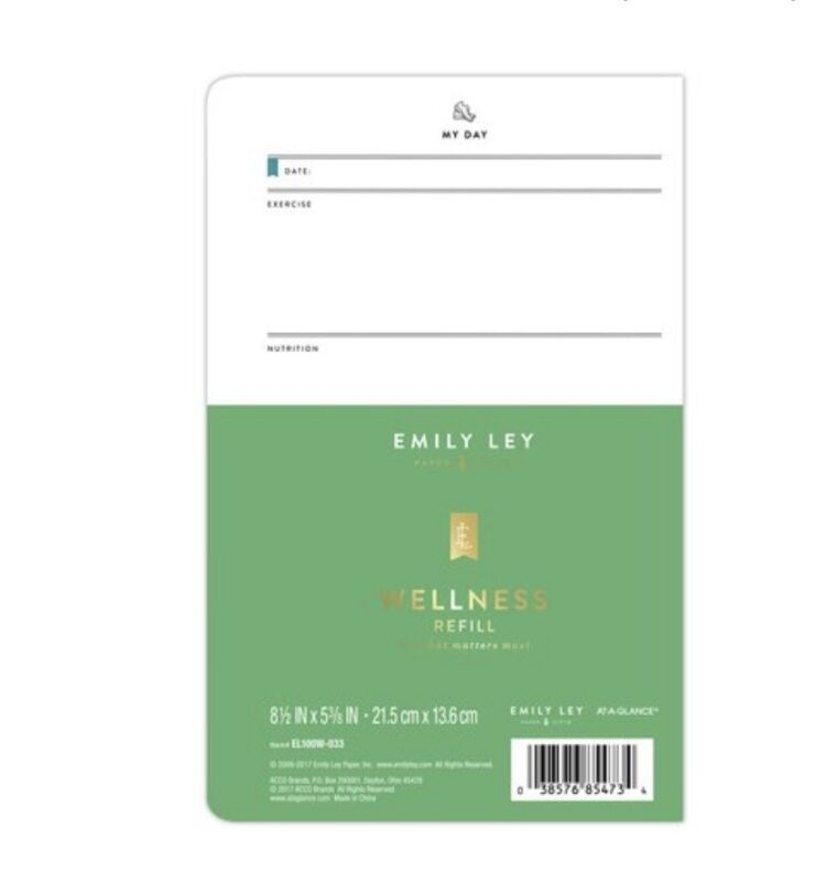 "Emily Ley Simplified System Wellness Ring Planner Refill Desk 5 3/8"" x 8 1/2"""