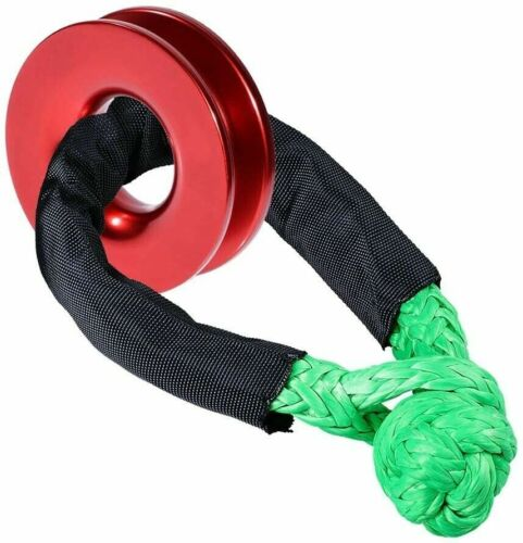 US Soft Shackle Winch Rope Ring Aluminum RECOVERY Pulley&Green Knot Rope Set