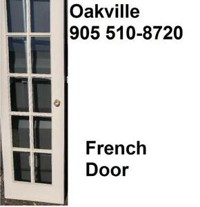 "Oakville ONE FRENCH DOOR - 30x75-3/4"" Bevelled Glass Panels WHITE; Handles attached"