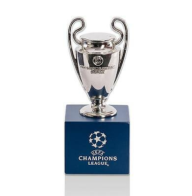 Official UEFA Champions League 3D Mini Replica Trophy on Pedestal Autograph