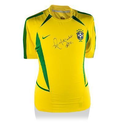 cdcd785b40bcb8 Ronaldinho Front Signed Brazil 2002 Home Shirt Autograph Jersey