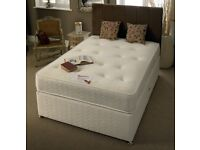 POCKET SPRUNG SET -- BRAND NEW DOUBLE AND KING DIVAN BED WITH 1000 POCKET SPRUNG ORTHOPEDIC MATTRESS