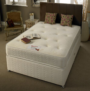 White damask memory foam bed divan mattress headboard 2ft6 for Memory foam double divan bed sale
