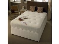 ==COMPLETE ORTHOPEDIC SET==NEW DOUBLE DIVAN BED BASE WITH WHITE ORTHOPEDIC MATTRESS