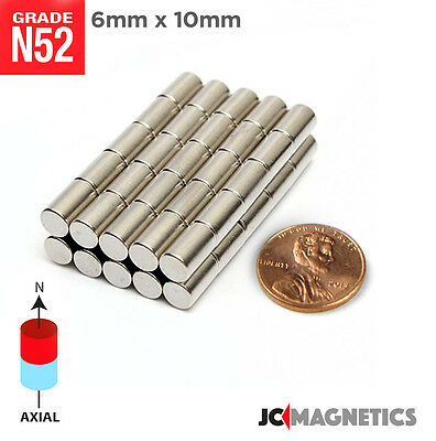 25 50 100pc 6mm X 10mm 14 X 38 N52 Strong Disc Rare Earth Neodymium Magnet