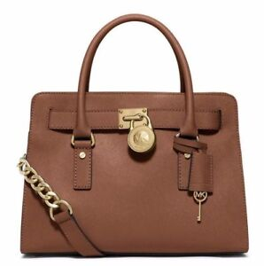 9a44b339d53c7 Michael Kors Hamilton Luggage Leather Large Satchel Bag 38F6GHMS3L ...