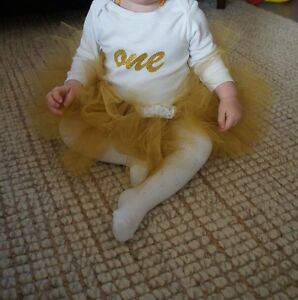 "Custom made Gold ""crawler"" tutu - size 0 - 1 Carine Stirling Area Preview"
