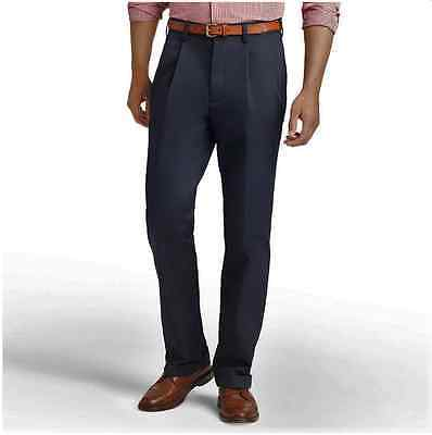 Izod Pants American Chino 30x30 Classic Pleated Wrinkle Free Navy Blue NWT New