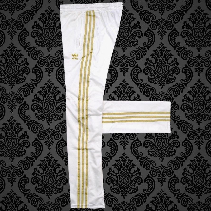 Adidas Damen Firebird Trainingshose Jogging Hose Brillo Metallist Pant weiß/gold