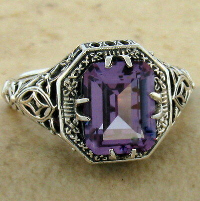 ANTIQUE ART DECO STYLE 925 SILVER COLOR CHANGING SIM ALEXANDRITE RING SZ.6, #908