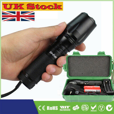 T6 Police Tactical Flashlight Zoom LED Adjustable Torch Lamp 6000LM UK004
