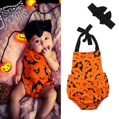 Halloween Newborn Baby Bodysuit Romper Kids Boy Girl Jumpsuit Clothes Outfit Set - Newborn Halloween Outfit
