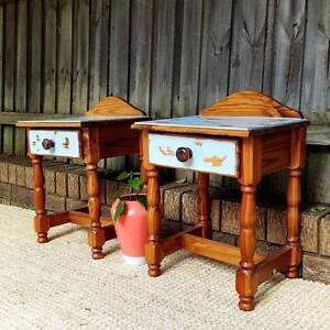 Rustic Vintage Coastal Style Shabby Chic Bedside Tables W Drawers Coogee Eastern Suburbs Preview