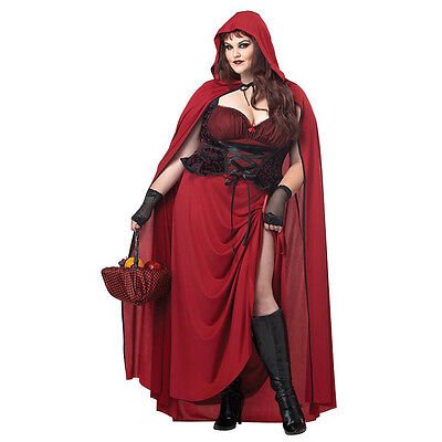 Women's PLUS Dark Red Riding Hood Fairy Tail Fantasy Adult Halloween Costume