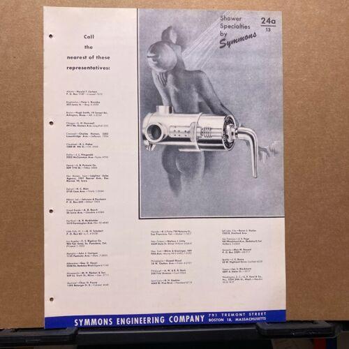 Vtg Symmons Engineering Brochure ~ Shower Accessories - Safetymix - Catalog 1949