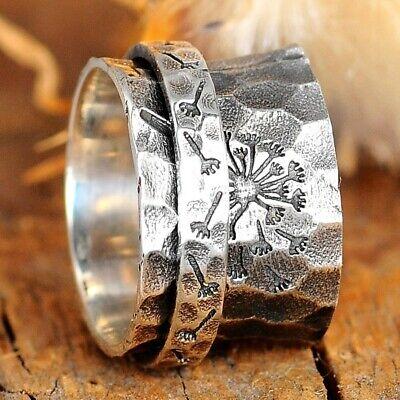 Dandelion Flower Spinner Ring Sterling Silver Fidget Wide Band Women Size 7 8 9