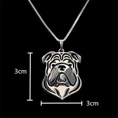 - English Bulldog Pendant Necklace Silver Tone ANIMAL RESCUE DONATION