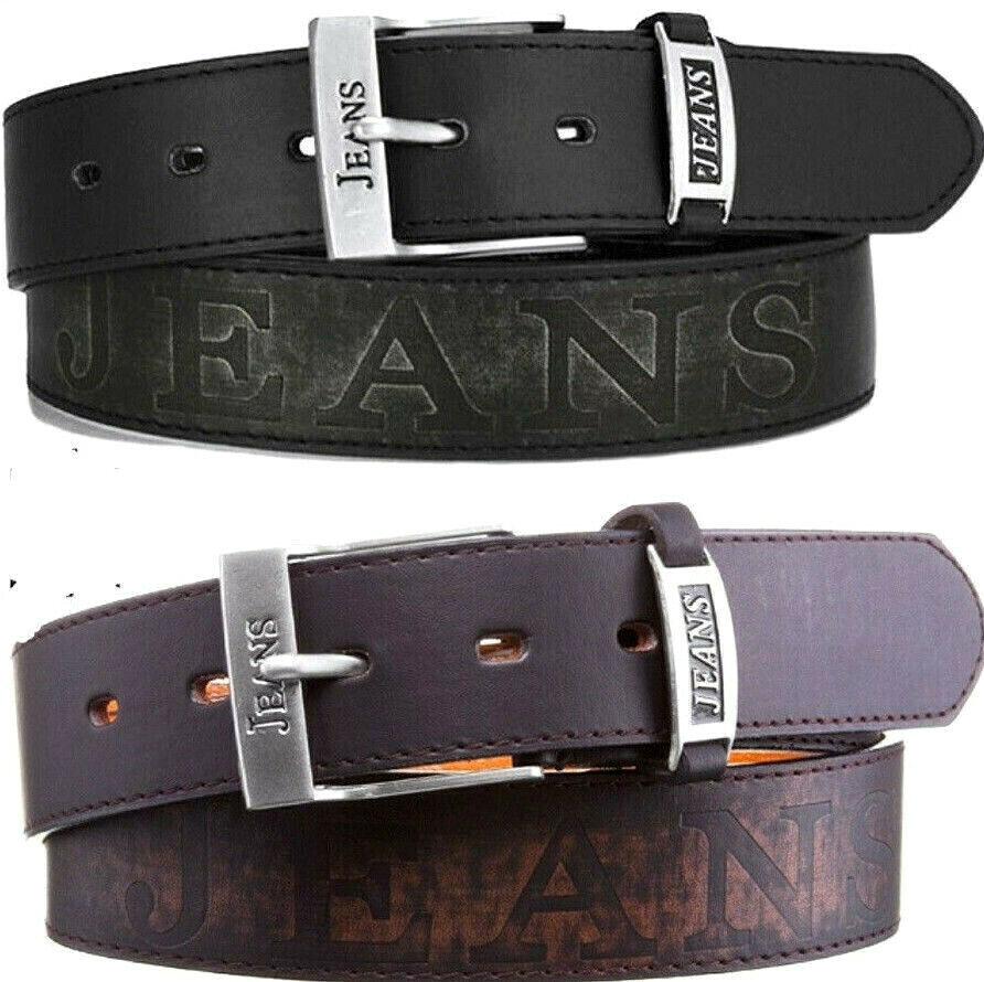 Echt Jeans-Gürtel Herren Damen Jeans-Prägung Leder Gürtel Schwarz Braun 4 cm