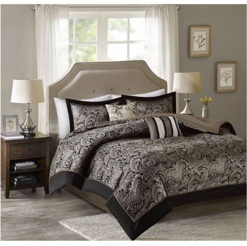 Best King Comforter Sets 5-Piece Charlize Jacquard Soft Blac