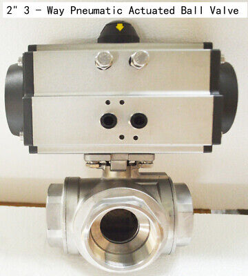 Free Shipping Npt 2 3 Way Pneumatic Actuated Ball Valve Double Acting New