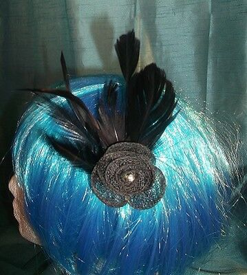 Burlesque Halloween-party (STEAMPUNK/BURLESQUE BLACK ROSE Fascinator-wedding/prom/halloween/party )