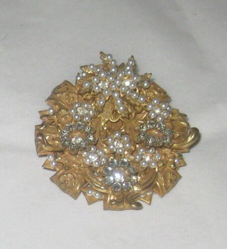 Stanley Hagler NYC Pin Brooch Rhinestones Seed Pearls Detailed Marked