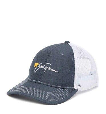 NWT Jack Nicklaus Golden Bear Embroidered Script Adj Mesh Golf Hat Charcoal Gray