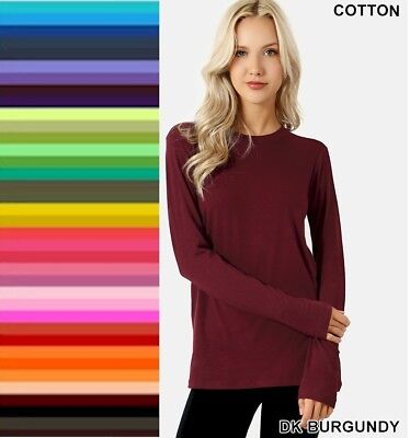 Womens T Shirt Crew Neck Long Sleeve Zenana Cotton Stretch Top S/M/L/XL (top deals)