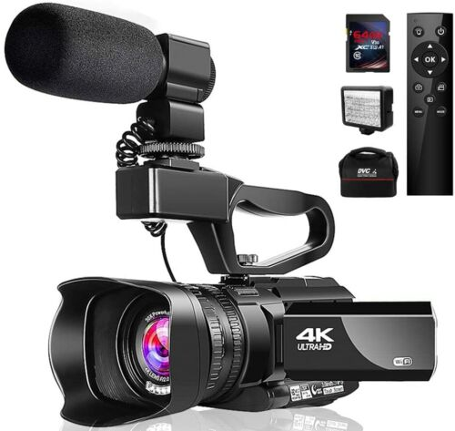 Video Camera 4K Camcorder with Microphone 48MP Vlogging Camera WiFi YouTube Came