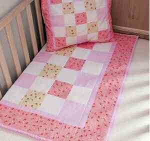 Pink cot quilt front kit for baby girl patchwork quilting by Sew Easy