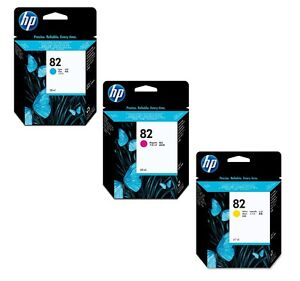 CYAN MAGENTA YELLOW HP 82 C4911A C4912A C4913A Genuine Ink Cartridge
