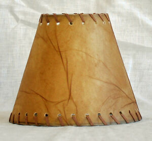 Urbanest Faux Leather Chandelier Lamp Shade Hardback,Leather Laced Trim 3x6