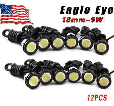 12x HID White Eagle Eye 18mm LED DRL Motor Car Daytime Running Tail Lights -