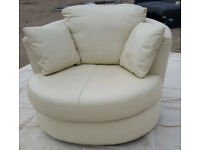 Milano Leather Swivel Chair - Ivory.