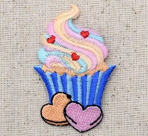 Blue Cupcake - Sweet Heart Candies/Treats - Iron on Applique/Embroidered Patch