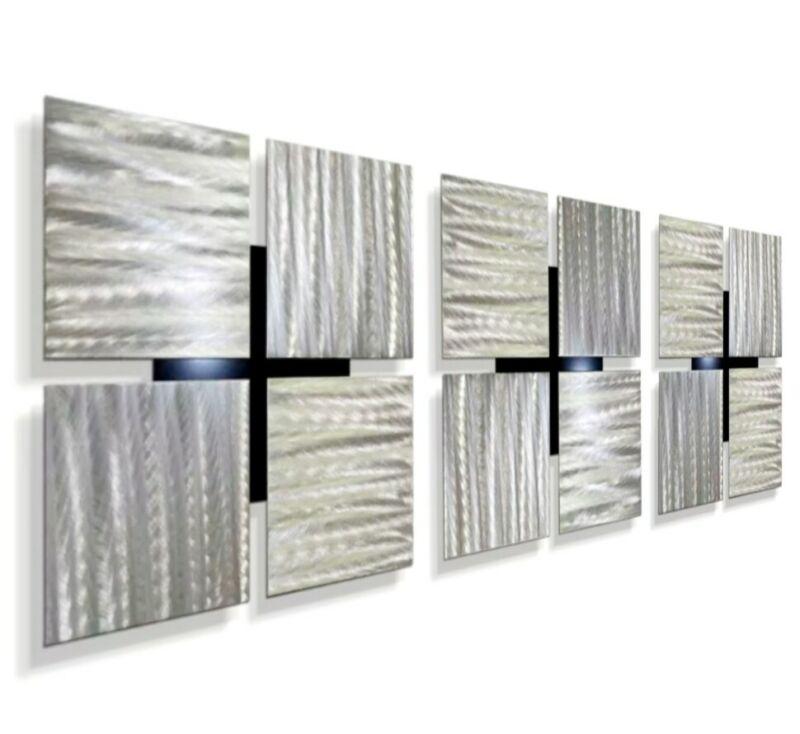 Metal Wall Art - Set of 3 - Square Decor, Contemporary Silver Wall Art Decor