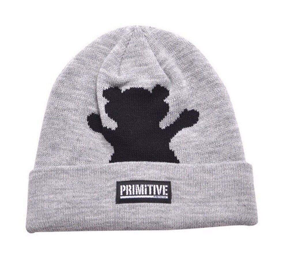Primitive x Grizzly GripTape Grey Bear Fold Cuff Beanie Wint