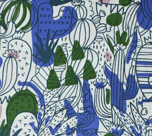 """Retro MOD Vintage Style """"PSYCHEDELIC GROOVY CACTUS PARTY"""" Wild Bold Fabric BTY"""
