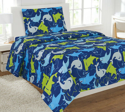 - Fancy Linen Boys 3pc Sheet Set Shark Dark Blue Yellow Grey Twin Size New