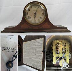 Ingraham CHIME STRIKE mantel clock CRUSADER pendulum key antique 8-day