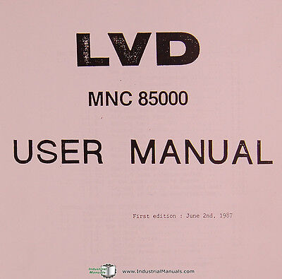 Lvd Mnc 85000 Cnc Control Programming Operations User Manual Year 1987