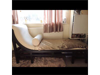 Shabby chic chaise lounge sofa chair stool cushions wooden decoration stage bedroom bed