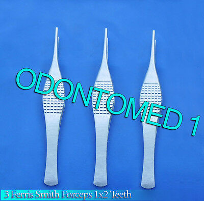 3 Ferris Smith Tissue Forceps 1x2 Teeth Surgical Neurosurgical Instrument