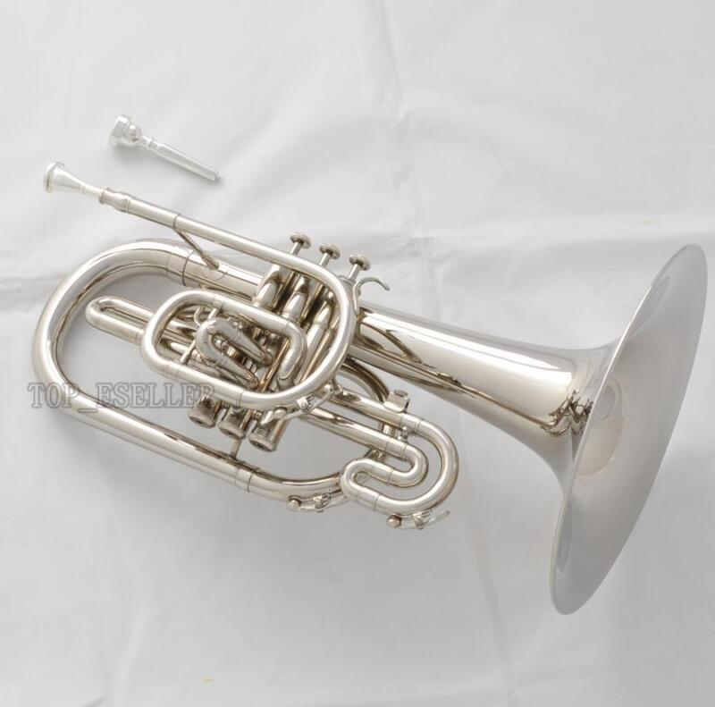 Newest Professional Marching Mellophone F Key Silver Nickel Finish With Case