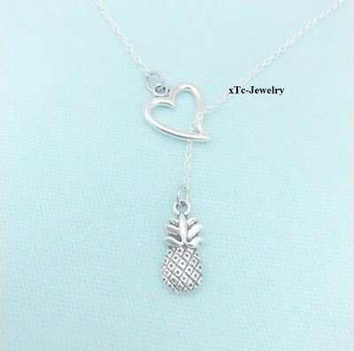 Welcome Gift Necklace; Hospitality Charm Pineapple Silver Lariat