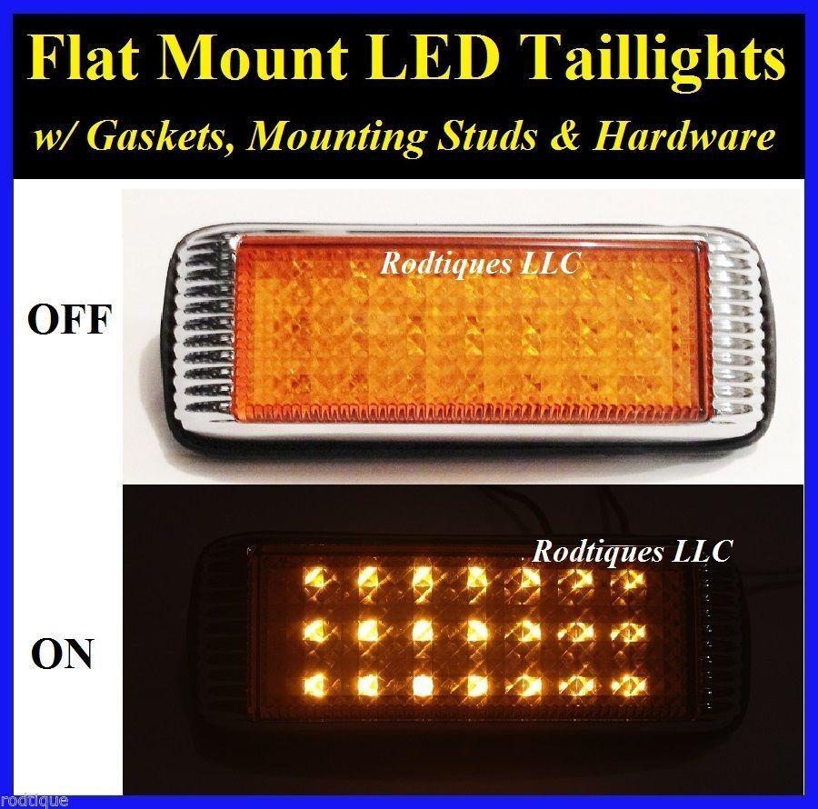 Flat Mount Amber LED Taillights Turn Signal Running Parking Lights Hot Rod 41FA