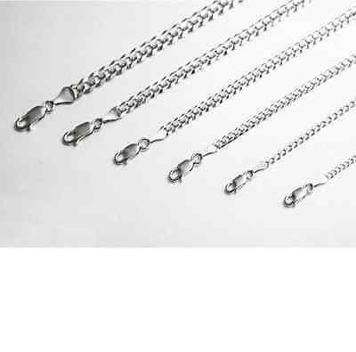 10k Solid White Gold Cuban Link  Chain Necklace 2-7mm Men's Women Sz -